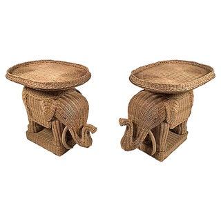 Wicker Elephant Tray Tables, Pair