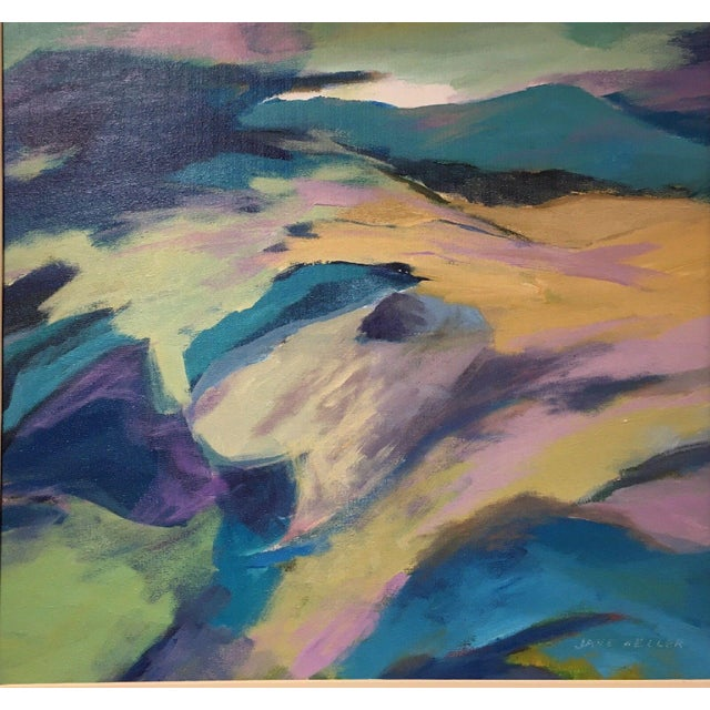 Abstract Jane Heller Vintage Mid Century Modern Abstract Expressionist Oil Painting For Sale - Image 3 of 11