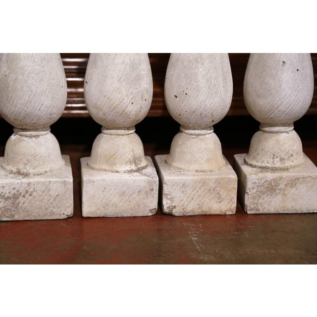 Set of Four French 19th Century Patinated Carved Stone Balusters For Sale In Dallas - Image 6 of 9