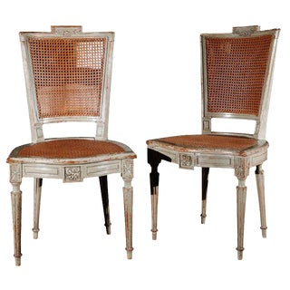 Antique Louis XVI Style Painted Dining Chairs - Set of 8 For Sale