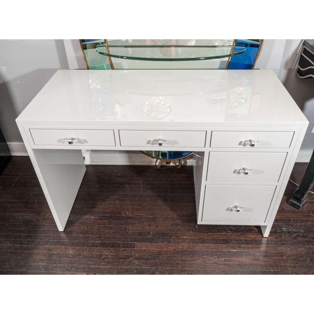 Custom Grey Lacquer Desk For Sale In New York - Image 6 of 6