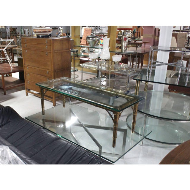 Wood Lacquered Wood Faux Bamboo with Glass Top Rectangular Coffee Table For Sale - Image 7 of 8