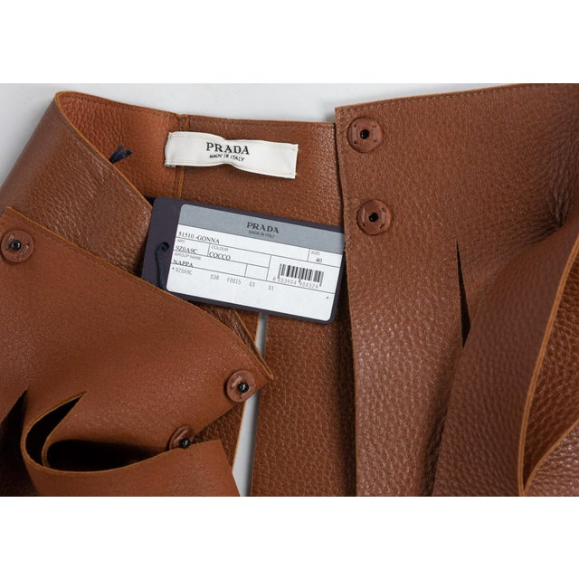 2010s Prada Brown Pebbled Leather Fringe Waist Belt / Skirt Overlay For Sale - Image 5 of 6
