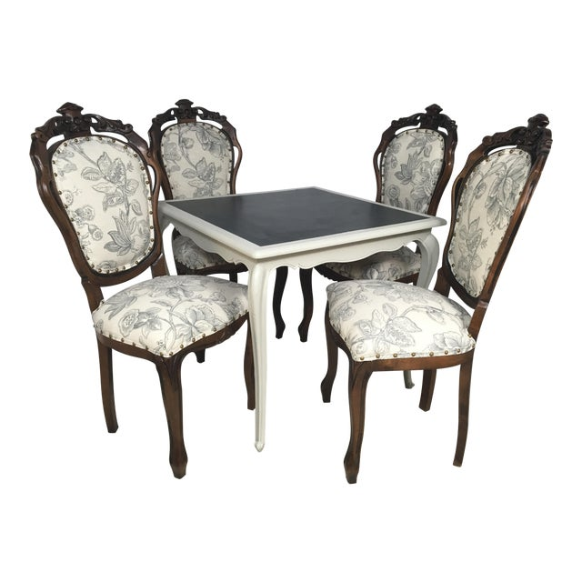 Antique French Game Table and Chairs - Set of 5 - Image 1 of 9