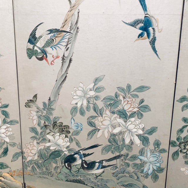 Chinoiserie Silver Leaf Chinoiserie Room Divider For Sale - Image 3 of 6