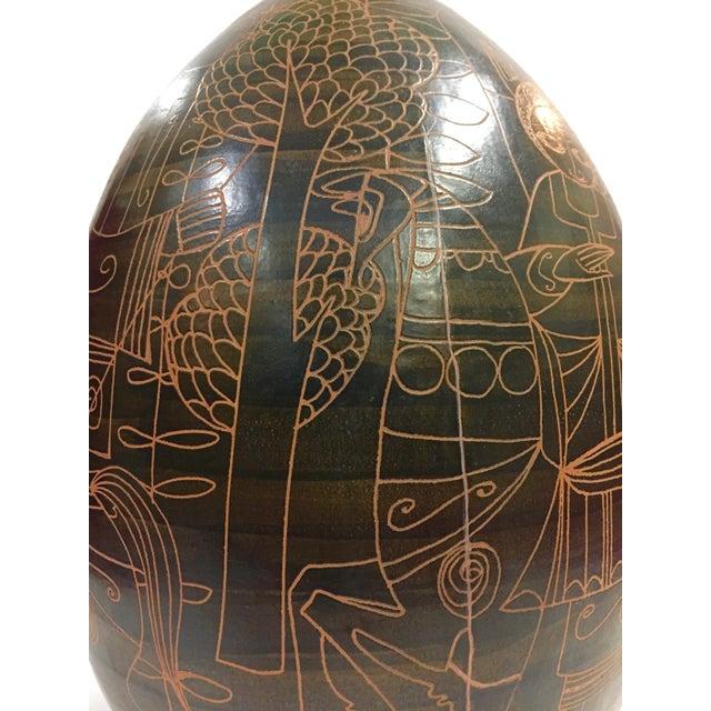 Brutalist 1960s Marcello Fantoni Figurative Brown Ceramic Lamp For Sale - Image 3 of 12