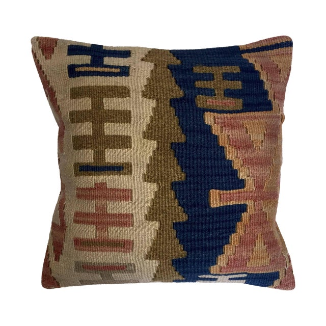Blue & Brown Handmade Turkish Kilim Pillow Cover - Image 1 of 5
