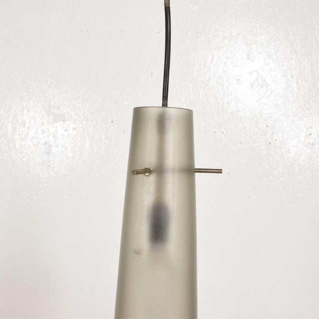 Metal Italian Mid-Century Modern Pendant Chandelier With Two Frosted Glass Shades For Sale - Image 7 of 11