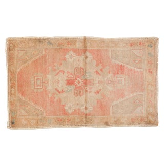"Vintage Distressed Oushak Rug Mat - 1'10"" X 3' For Sale"