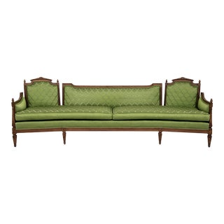 Long Mid Century Green Silk Sofa With Curved Angled Knole Style Frame For Sale