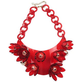 Italian Designer Transparent Red Lucite Bib Necklace Huge Flowers and Pearl For Sale