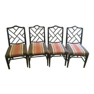 1970s Boho Chic Bamboo Dining Chairs - Set of 4