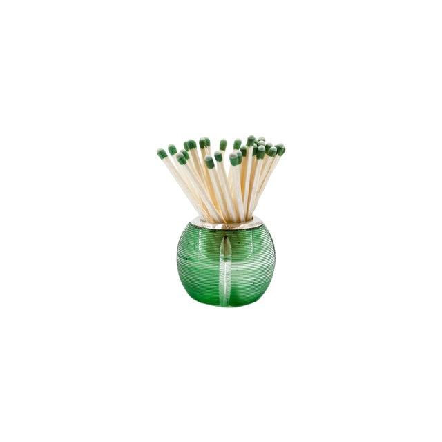 Boho Chic Edwardian Green Crystal Sterling Silver Match Striker For Sale - Image 3 of 3
