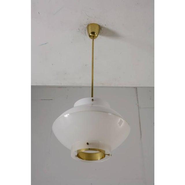 Stockmann Orno Yki Nummi White Plexiglass and Brass Pendant for Orno, Finland, 1960s For Sale - Image 4 of 8