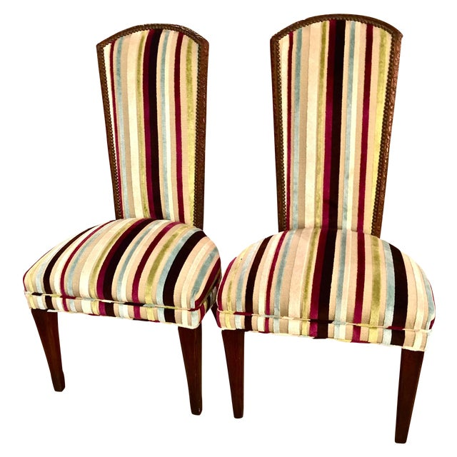 Mid-century Modern High Back Side Chairs - Pair - Image 1 of 7