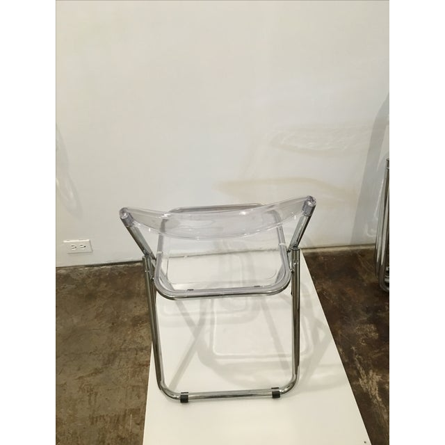 Mid Century Modern set of Six Lucite and Metal Folding Chairs - Image 6 of 7