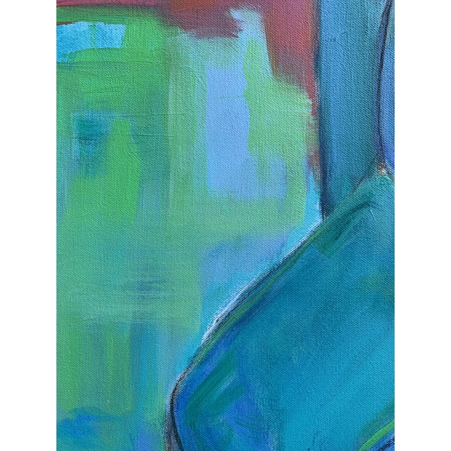 """Cerulean Contemporary Figurative Painting by Robin Okun Art, """"Over Here"""" For Sale - Image 8 of 11"""