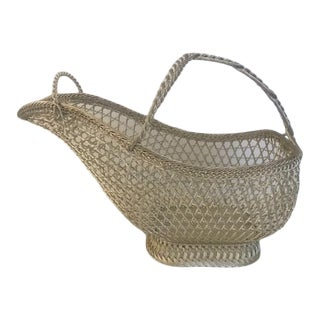 Vintage Eisenberg-Lozano French Silverplate Wine Basket Holder With Top Closure For Sale