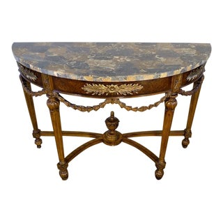 Regency Maitland Smith Tessellated Marble Top Chartwell Console Table For Sale