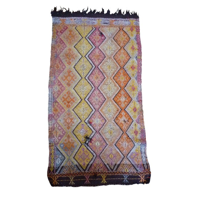 "Kilim Rug With Horse Hair Fringe - 2' 7"" X 5' For Sale"