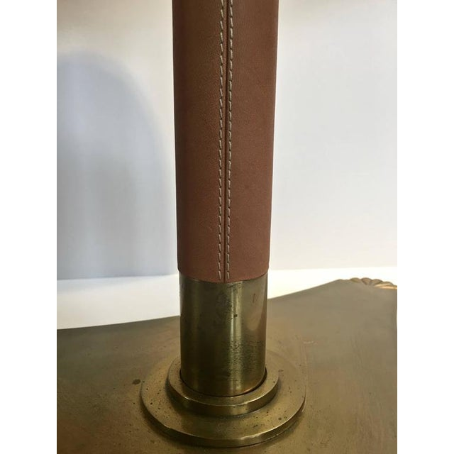 Pair of Brass and Leather Wrapped Extendable Table Lamps, Manner of Adnet - Image 7 of 9