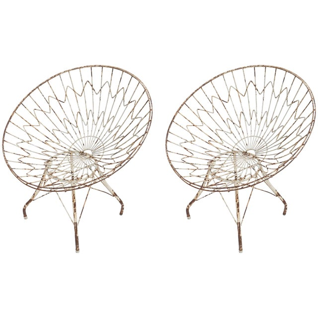White Round Metal Outdoor Garden Chairs - a Pair For Sale - Image 8 of 8