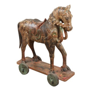 Wooden Oversized Temple Horses From India