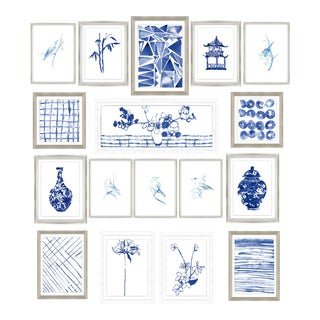 Sapphire Chinoiserie Print Set Framed Kenneth Ludwig Chicago - 17 Pieces For Sale