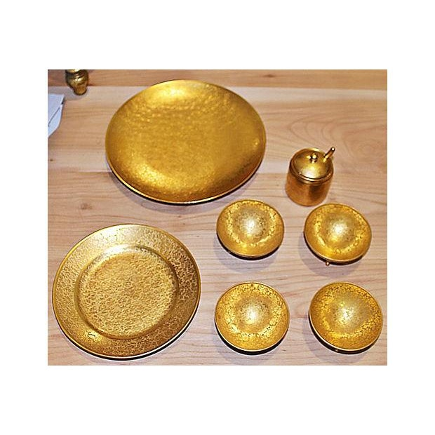 Traditional All-Over-Gold Serving Set - 7 Pieces For Sale - Image 3 of 9
