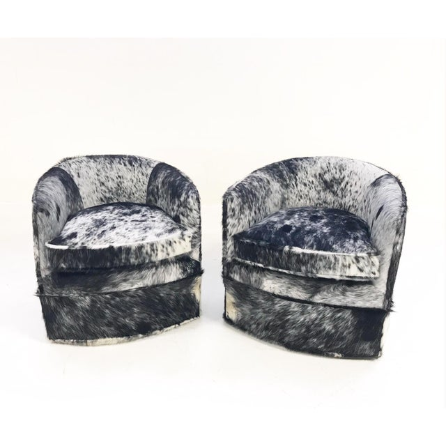 Vintage Milo Baughman Wheeled Restored and Reupholstered in Black and White Speckled Brazilian Cowhide Slipper Chairs - a Pair - Image 2 of 9