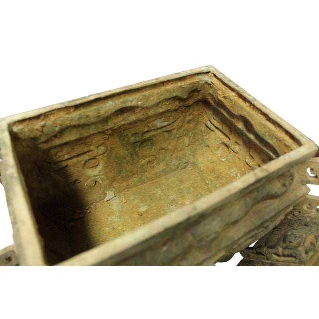 Chinese Ancient Dynasty Green Bronze Ceremonial Incense Burner Display Art - Image 7 of 9