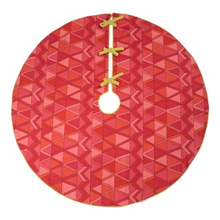 Pink, Red and Lime Green Patterned Tree Skirt For Sale