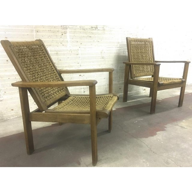 1950s French Riviera Style Pair of Reclining Rope Lounge Chair For Sale - Image 5 of 8