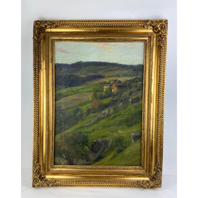 Rustic European 19th Century Plein Air Landscape by Fredrik Borgen, Framed Oil Painting For Sale - Image 3 of 13
