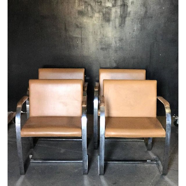 Ludwig Mies van der Rohe's flat bar Brno chair is comprised of polished chrome-plated steel and leather, made circa 1960s...
