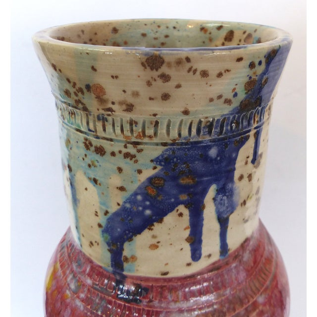 Red & Blue Glazed Ceramic Vase by Gary Fonseca - Image 6 of 8