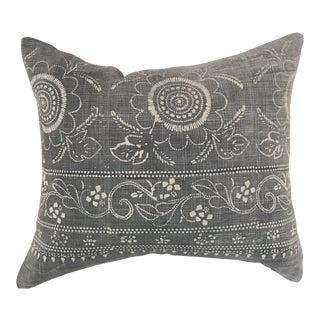 Vintage Faded Gray & White Asian Batik Textile Bandana Pillow For Sale