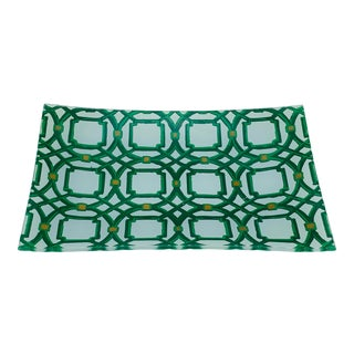 Green and White Lattice Motif Catchall Dish For Sale