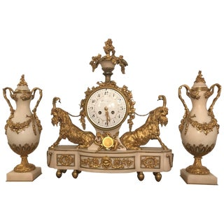 Elegant 18th Century French Ormolu Marble Clock and Garniture For Sale
