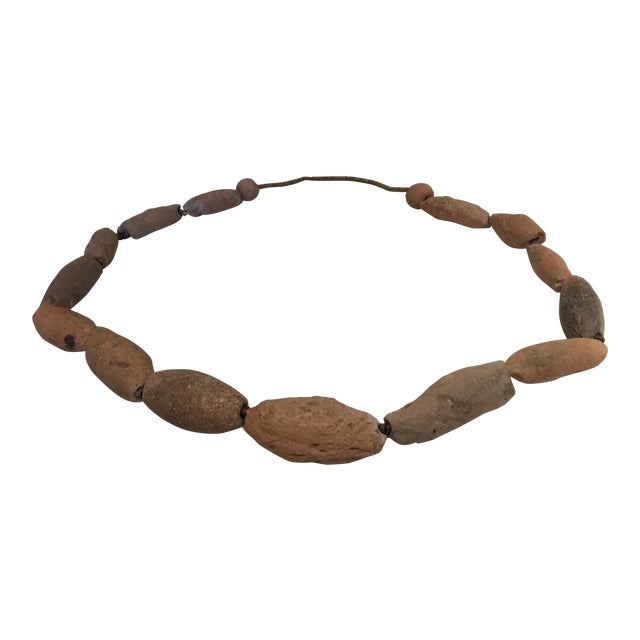 Antique African Tribal Chunky Terra Cotta Bead Necklace - Image 1 of 5