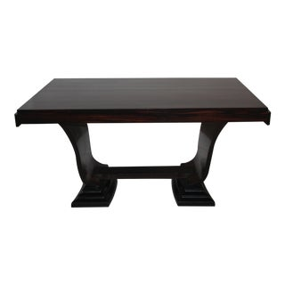 C 1930's French Art Deco Exotic Macassar Ebony Dining Table For Sale