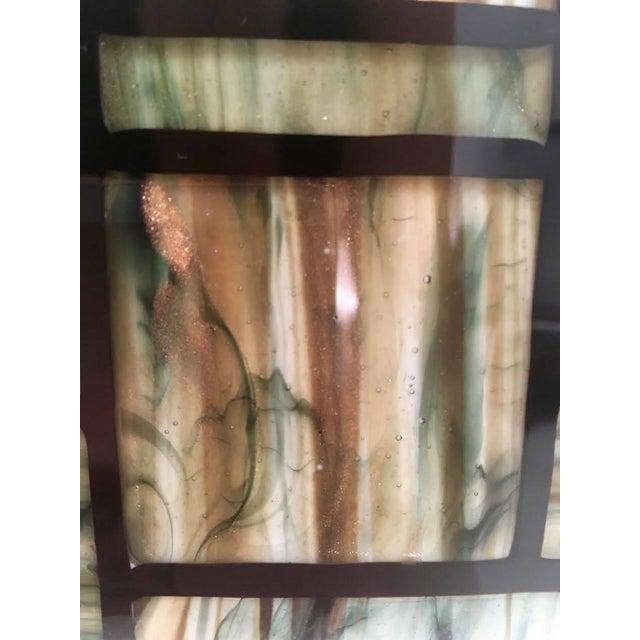Contemporary Modern Italian Green, Cream, Caramel, White and Black Murano Glass Mosaic Mirror For Sale - Image 3 of 9
