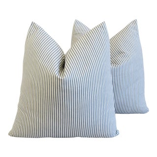 "French Country Striped Ticking Feather/Down Pillows 23"" Square - Pair For Sale"