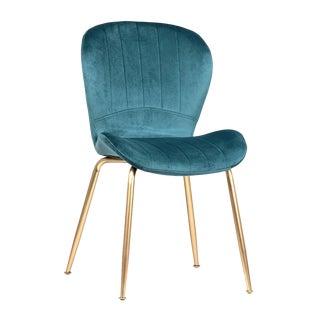 Blue Velvet & Brass Chair For Sale