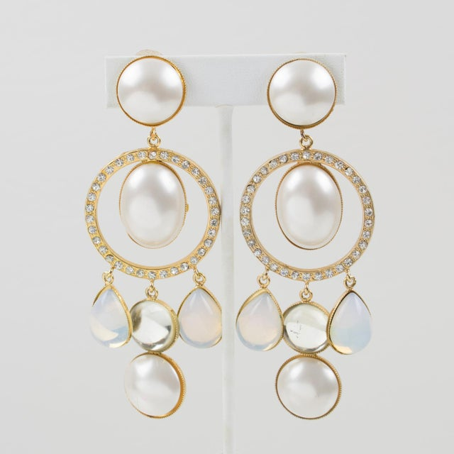 Crystal Zoe Coste Paris Signed Dangling Clip Earrings Gilt Metal White Glass Rhinestones For Sale - Image 7 of 7