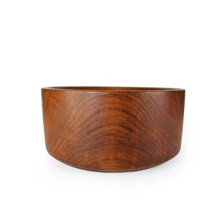 Mid 20th Century Vintage Large Heavy Handmade Solid Wood Salad Snack Fruit Serving Bowl Preview