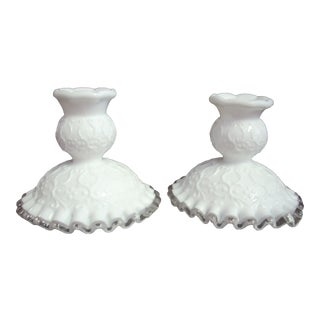 1950s Fenton Candle Holders - a Pair For Sale