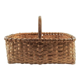 1910s Americana Oak Splint Basket For Sale