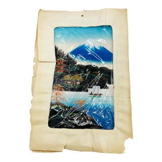 Vintage Mid Century Painting on Silk of a Mount Fuji Landscape Scene, Hand Painted in Japan For Sale