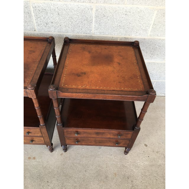 Baker Furniture Leather Top Mahogany 2 Drawer End Tables - a Pair - Image 6 of 11